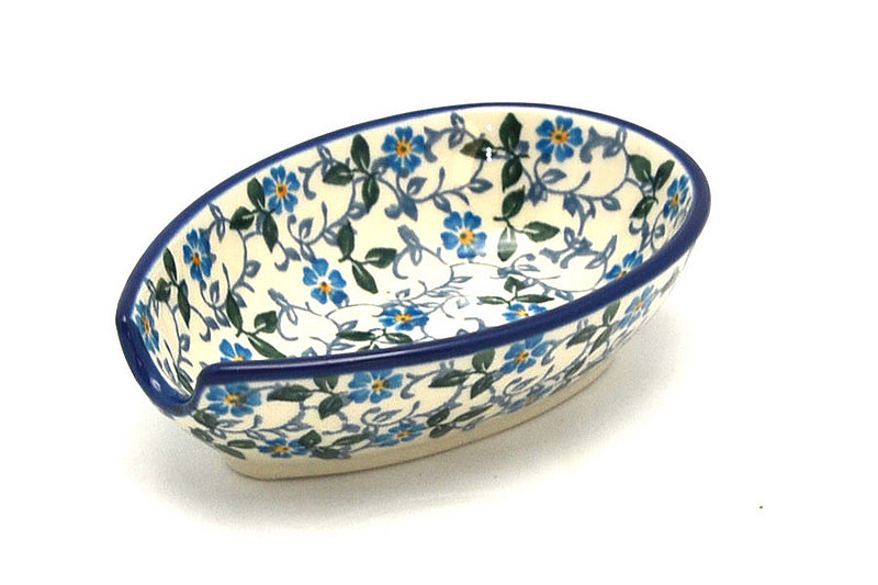 Ceramika Artystyczna Polish Pottery Spoon Rest - Forget-Me-Knot 381-2089a (Ceramika Artystyczna)