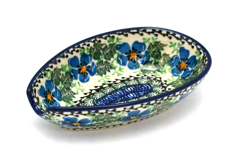 Ceramika Artystyczna Polish Pottery Spoon Rest - Morning Glory 381-1915a (Ceramika Artystyczna)