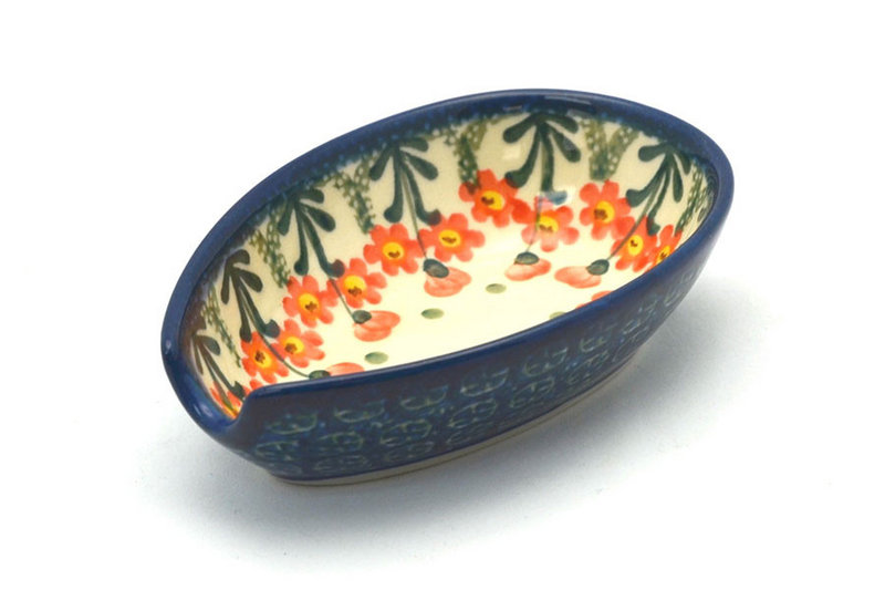 Ceramika Artystyczna Polish Pottery Spoon Rest - Peach Spring Daisy 381-560a (Ceramika Artystyczna)
