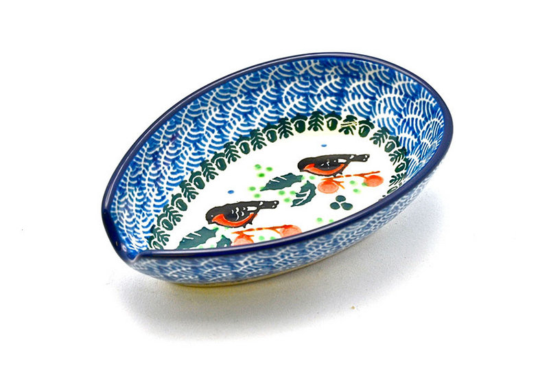 Ceramika Artystyczna Polish Pottery Spoon Rest - Red Robin 381-1257a (Ceramika Artystyczna)