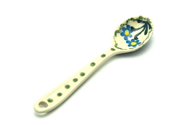 Polish Pottery Spoon - Small - Blue Spring Daisy