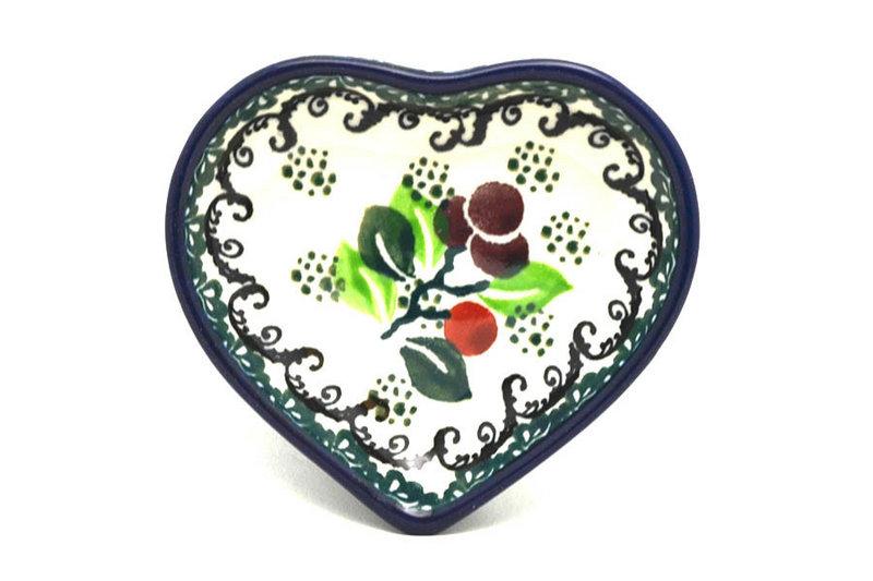 Ceramika Artystyczna Polish Pottery Tea Bag Holder - Heart - Burgundy Berry Green B64-1415a (Ceramika Artystyczna)