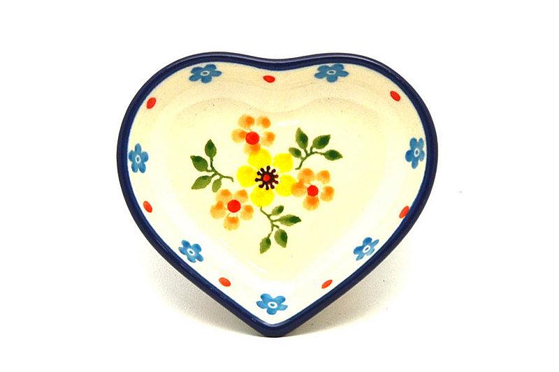 Ceramika Artystyczna Polish Pottery Tea Bag Holder - Heart - Buttercup B64-2225a (Ceramika Artystyczna)