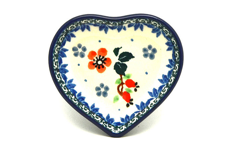 Polish Pottery Tea Bag Holder - Heart - Cherry Blossom