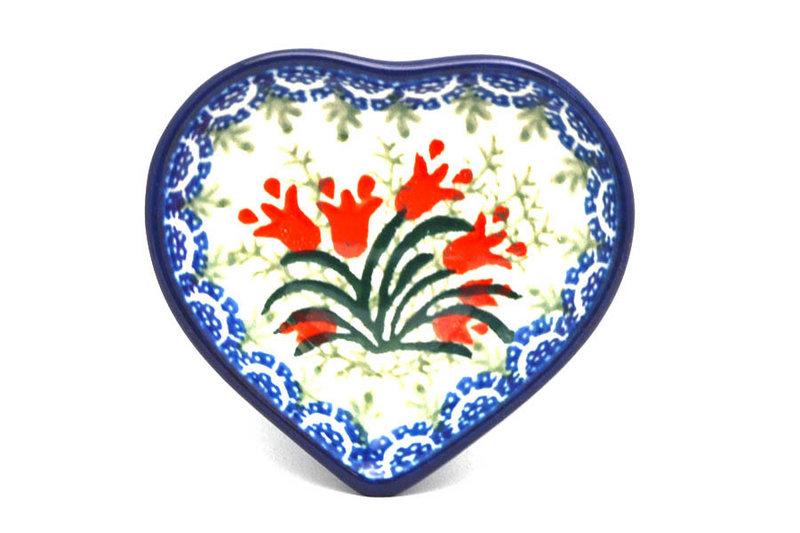 Ceramika Artystyczna Polish Pottery Tea Bag Holder - Heart - Crimson Bells B64-1437a (Ceramika Artystyczna)