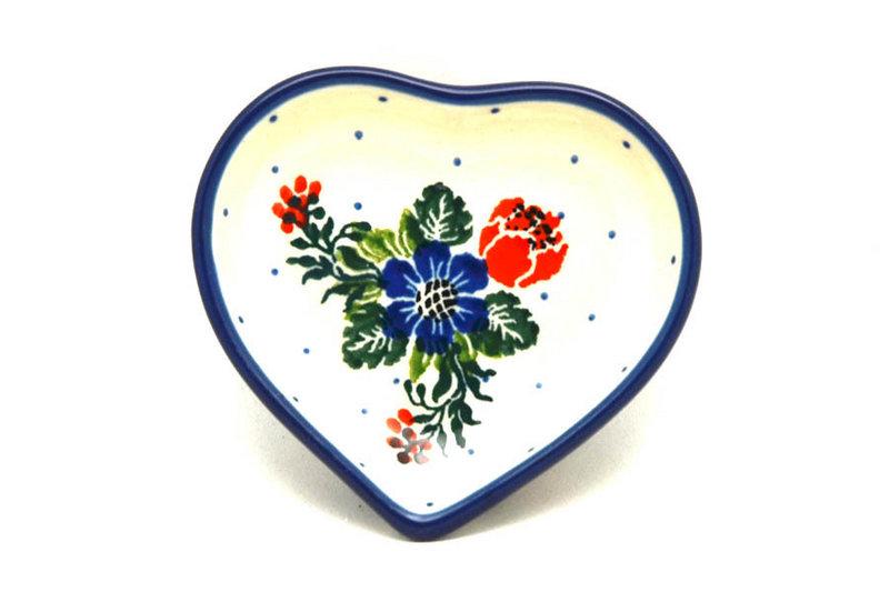 Ceramika Artystyczna Polish Pottery Tea Bag Holder - Heart - Garden Party B64-1535a (Ceramika Artystyczna)