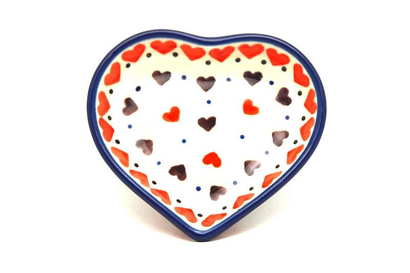 Ceramika Artystyczna Polish Pottery Tea Bag Holder - Heart - Love Struck B64-2108a (Ceramika Artystyczna)