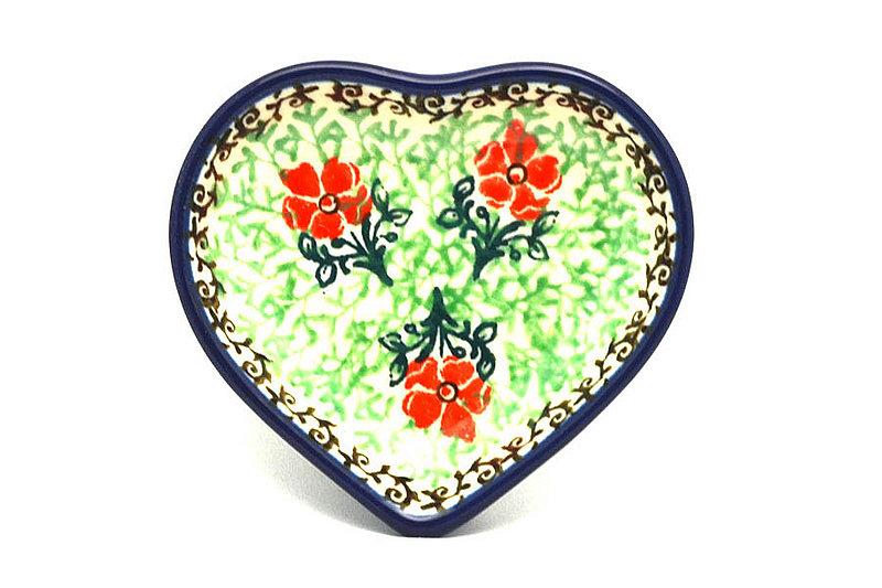 Ceramika Artystyczna Polish Pottery Tea Bag Holder - Heart - Maraschino B64-1916a (Ceramika Artystyczna)