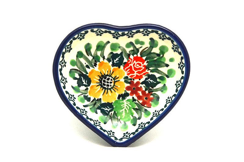 Ceramika Artystyczna Polish Pottery Tea Bag Holder - Heart - Unikat Signature - U3347 B64-U3347 (Ceramika Artystyczna)