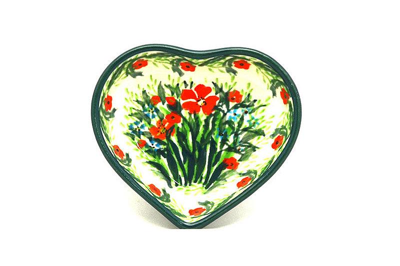 Ceramika Artystyczna Polish Pottery Tea Bag Holder - Heart - Unikat Signature - U4336 B64-U4336 (Ceramika Artystyczna)