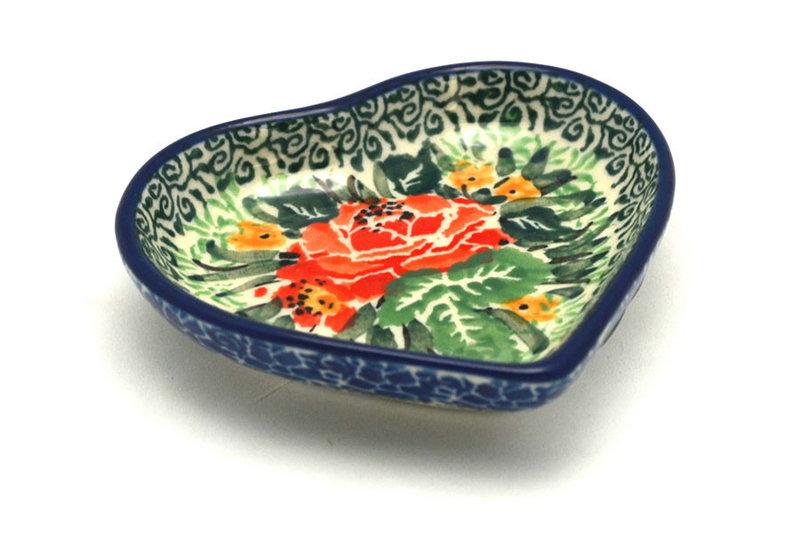Ceramika Artystyczna Polish Pottery Tea Bag Holder - Heart - Unikat Signature - U4400 B64-U4400 (Ceramika Artystyczna)