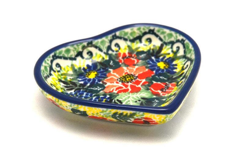 Ceramika Artystyczna Polish Pottery Tea Bag Holder - Heart - Unikat Signature - U4610 B64-U4610 (Ceramika Artystyczna)