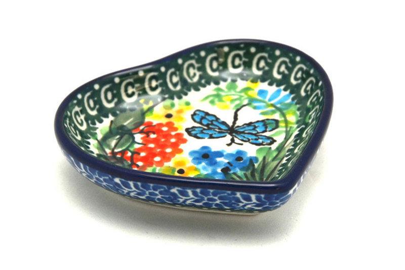 Ceramika Artystyczna Polish Pottery Tea Bag Holder - Heart - Unikat Signature - U4612 B64-U4612 (Ceramika Artystyczna)
