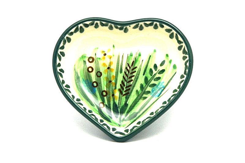 Ceramika Artystyczna Polish Pottery Tea Bag Holder - Heart - Unikat Signature - U803 B64-U0803 (Ceramika Artystyczna)