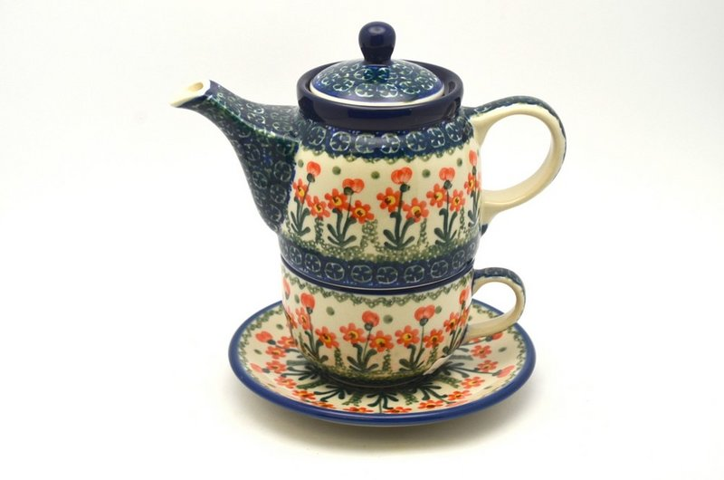 Ceramika Artystyczna Polish Pottery Tea Time for One - Peach Spring Daisy 423-560a (Ceramika Artystyczna)