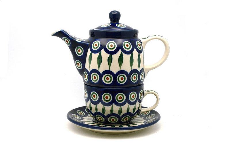 Ceramika Artystyczna Polish Pottery Tea Time for One - Peacock 423-054a (Ceramika Artystyczna)