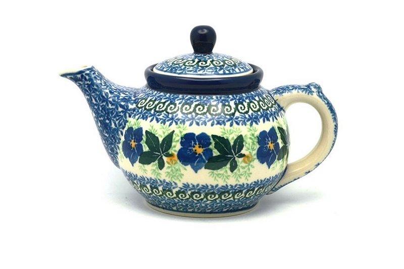 Ceramika Artystyczna Polish Pottery Teapot - 14 oz. - Blue Pansy 120-1552a (Ceramika Artystyczna)