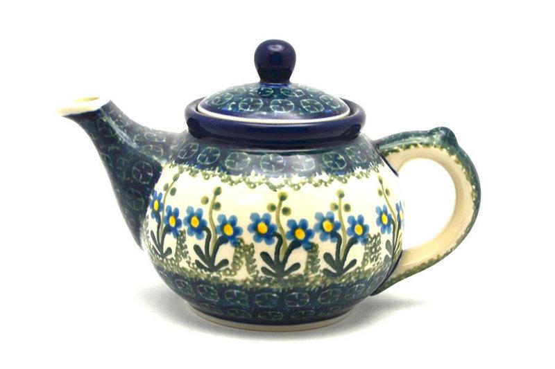 Ceramika Artystyczna Polish Pottery Teapot - 14 oz. - Blue Spring Daisy 120-614a (Ceramika Artystyczna)