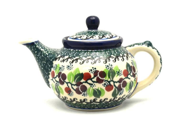 Ceramika Artystyczna Polish Pottery Teapot - 14 oz. - Burgundy Berry Green 120-1415a (Ceramika Artystyczna)