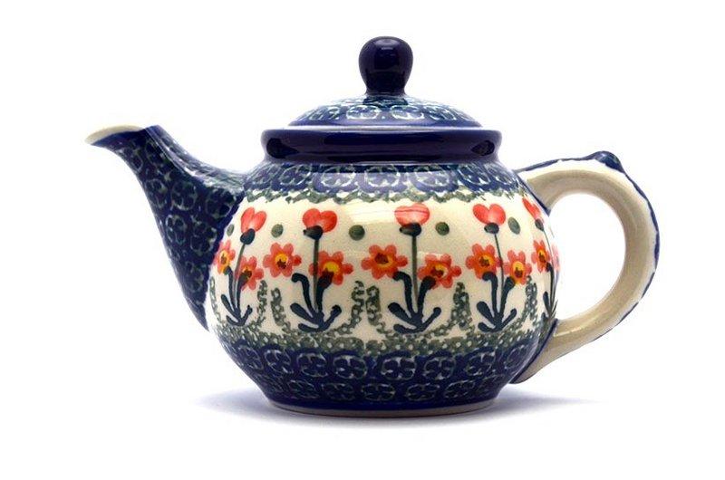 Ceramika Artystyczna Polish Pottery Teapot - 14 oz. - Peach Spring Daisy 120-560a (Ceramika Artystyczna)