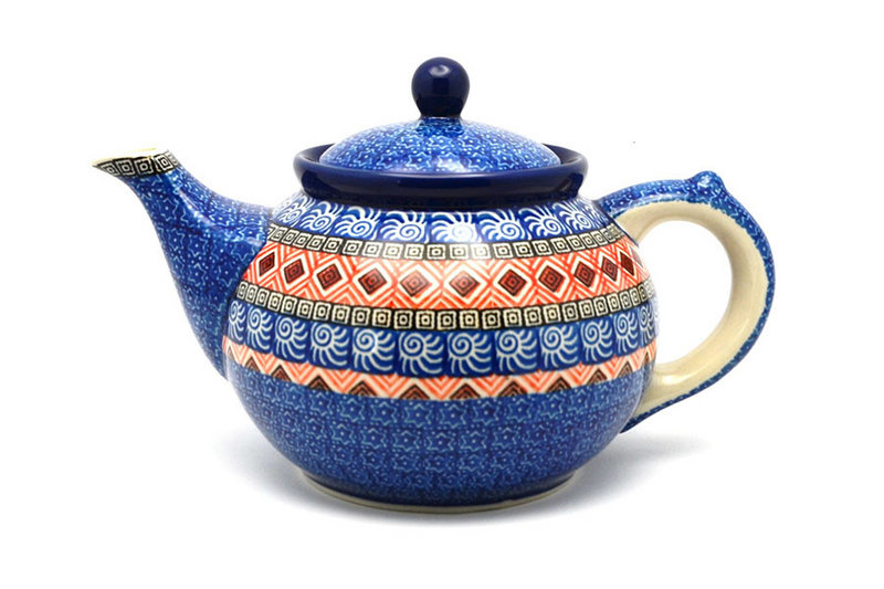 Ceramika Artystyczna Polish Pottery Teapot - 1 1/4 qt. - Aztec Sun 060-1350a (Ceramika Artystyczna)