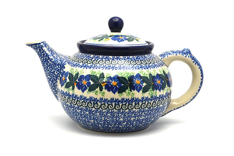 Ceramika Artystyczna Polish Pottery Teapot - 1 1/4 qt. - Blue Pansy 060-1552a (Ceramika Artystyczna)
