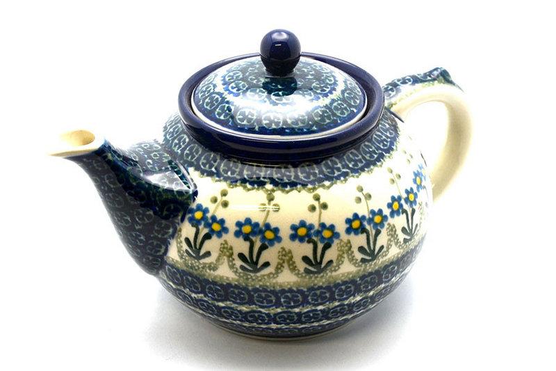 Ceramika Artystyczna Polish Pottery Teapot - 1 1/4 qt. - Blue Spring Daisy 060-614a (Ceramika Artystyczna)