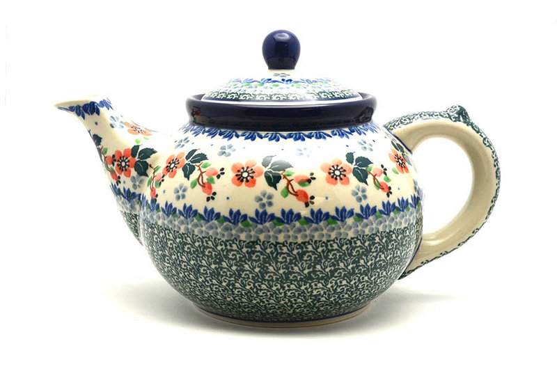 Ceramika Artystyczna Polish Pottery Teapot - 1 1/4 qt. - Cherry Blossom 060-2103a (Ceramika Artystyczna)