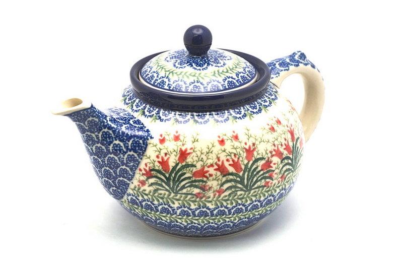 Polish Pottery Teapot - 1 1/4 qt. - Crimson Bells