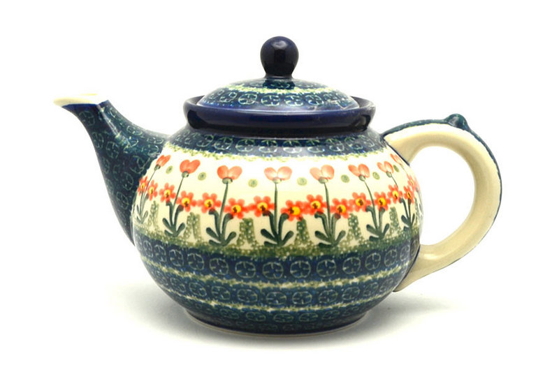 Ceramika Artystyczna Polish Pottery Teapot - 1 1/4 qt. - Peach Spring Daisy 060-560a (Ceramika Artystyczna)