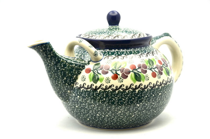 Ceramika Artystyczna Polish Pottery Teapot - 1 3/4 qt. - Burgundy Berry Green 444-1415a (Ceramika Artystyczna)