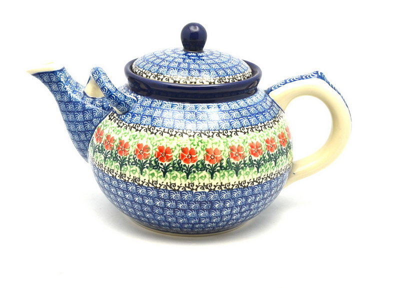 Ceramika Artystyczna Polish Pottery Teapot - 1 3/4 qt. - Maraschino 444-1916a (Ceramika Artystyczna)