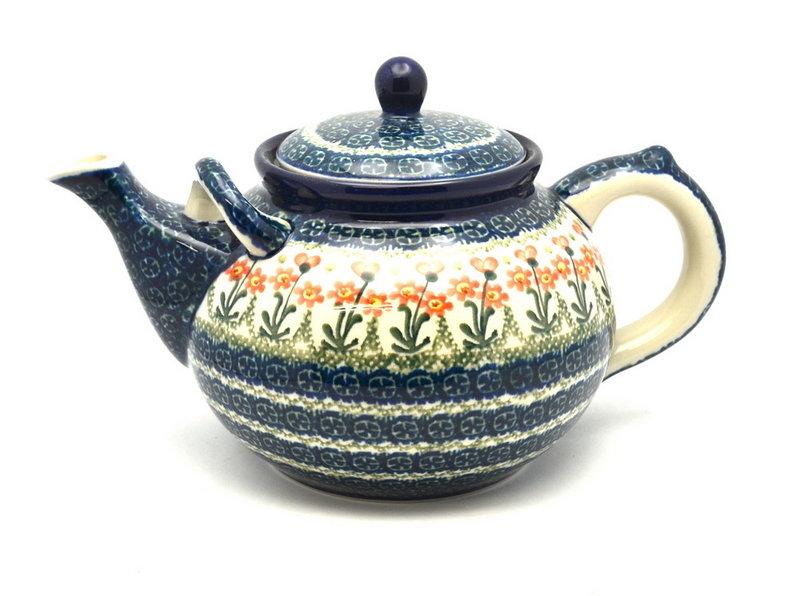 Ceramika Artystyczna Polish Pottery Teapot - 1 3/4 qt. - Peach Spring Daisy 444-560a (Ceramika Artystyczna)