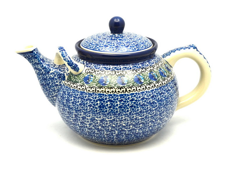 Ceramika Artystyczna Polish Pottery Teapot - 1 3/4 qt. - Peacock Feather 444-1513a (Ceramika Artystyczna)