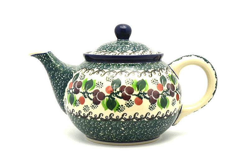 Ceramika Artystyczna Polish Pottery Teapot - 3/4 qt. - Burgundy Berry Green 264-1415a (Ceramika Artystyczna)