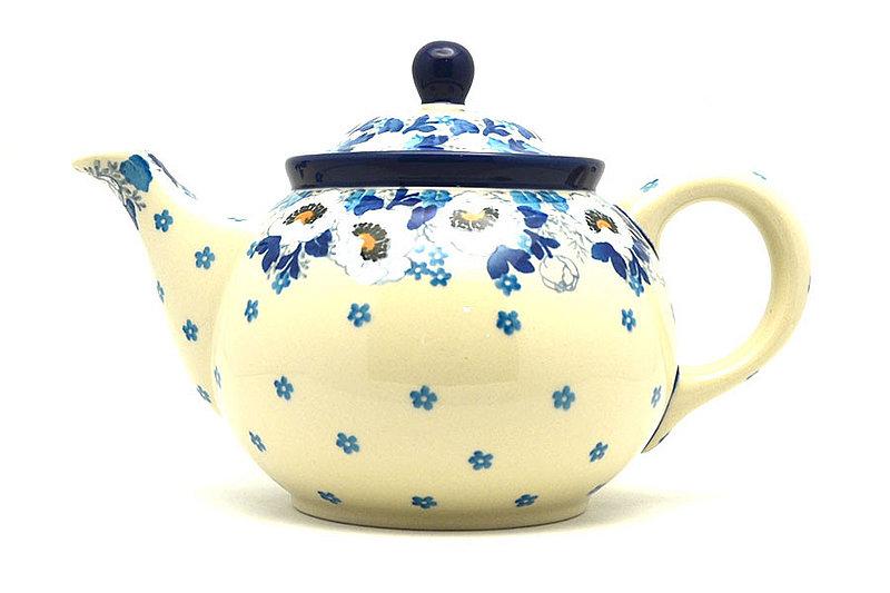 Ceramika Artystyczna Polish Pottery Teapot - 3/4 qt. - White Poppy 264-2222a (Ceramika Artystyczna)