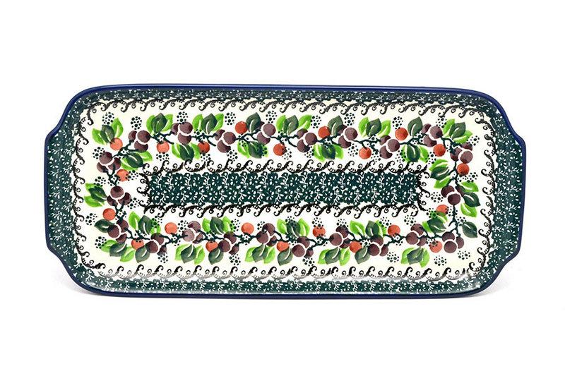 """Ceramika Artystyczna Polish Pottery Tray - Appetizer - 12"""" - Burgundy Berry Green 410-1415a (Ceramika Artystyczna)"""