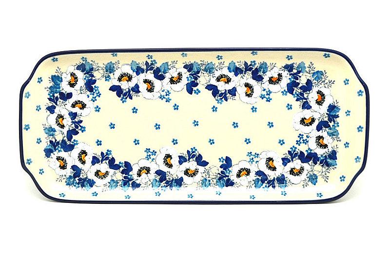 """Ceramika Artystyczna Polish Pottery Tray - Appetizer - 12"""" - White Poppy 410-2222a (Ceramika Artystyczna)"""