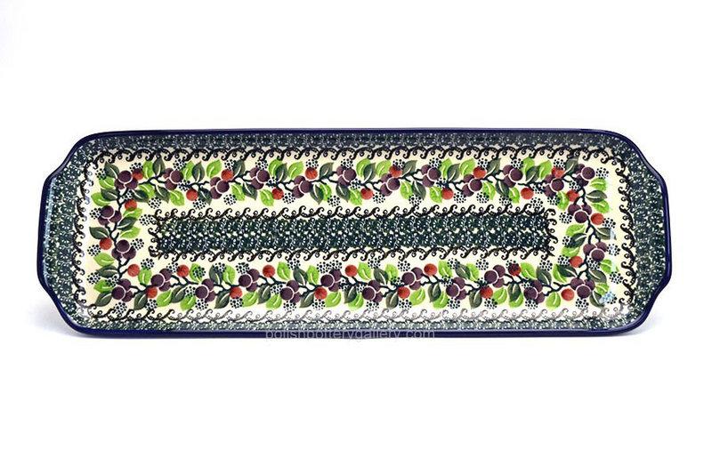 """Ceramika Artystyczna Polish Pottery Tray - Appetizer - 16"""" - Burgundy Berry Green 416-1415a (Ceramika Artystyczna)"""