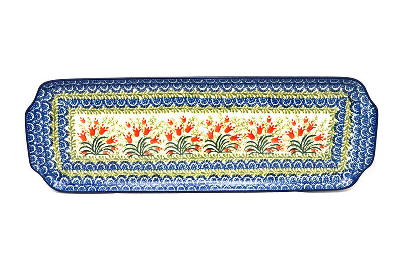 """Ceramika Artystyczna Polish Pottery Tray - Appetizer - 16"""" - Crimson Bells 416-1437a (Ceramika Artystyczna)"""