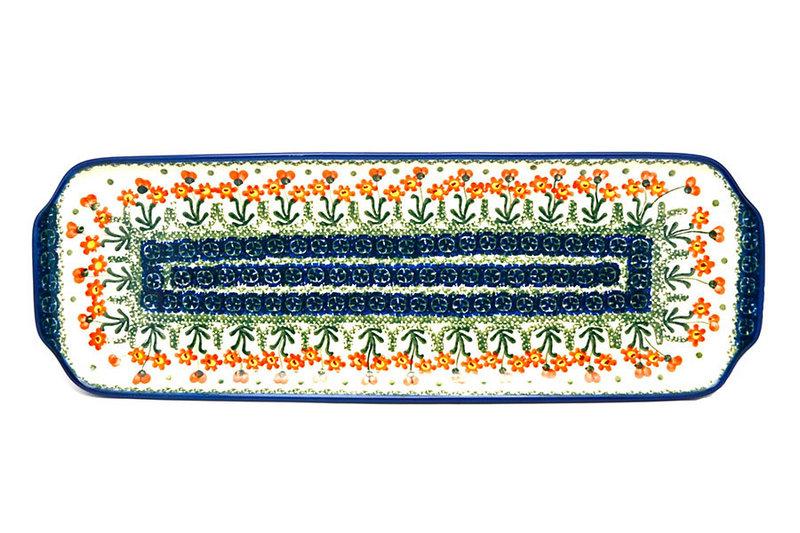 """Ceramika Artystyczna Polish Pottery Tray - Appetizer - 16"""" - Peach Spring Daisy 416-560a (Ceramika Artystyczna)"""