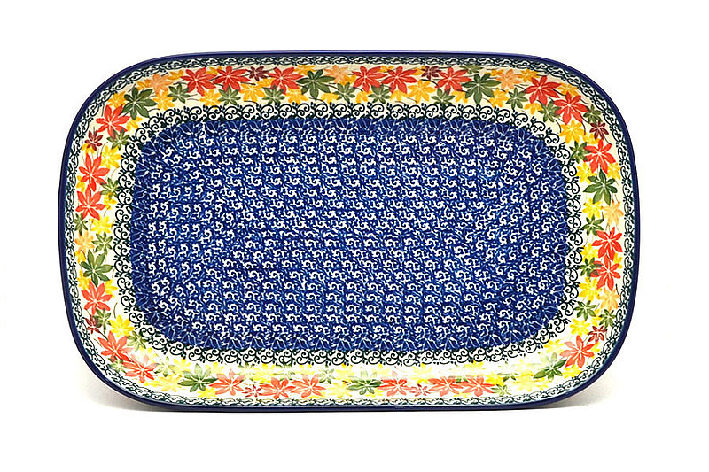 "Polish Pottery Tray - Deep Serving - 13"" - Maple Harvest"
