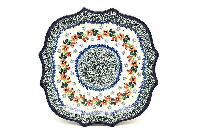 Ceramika Artystyczna Polish Pottery Tray - Serpentine Edge - Cherry Blossom 507-2103a (Ceramika Artystyczna)