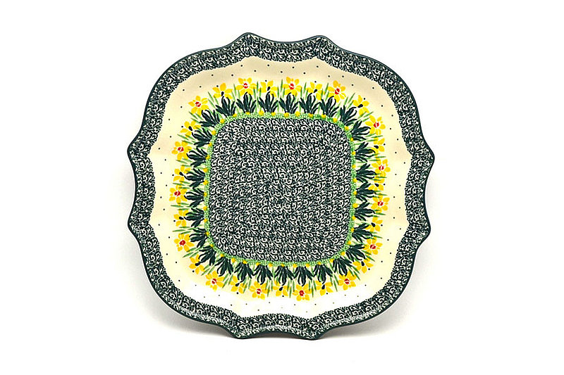 Ceramika Artystyczna Polish Pottery Tray - Serpentine Edge - Daffodil 507-2122q (Ceramika Artystyczna)