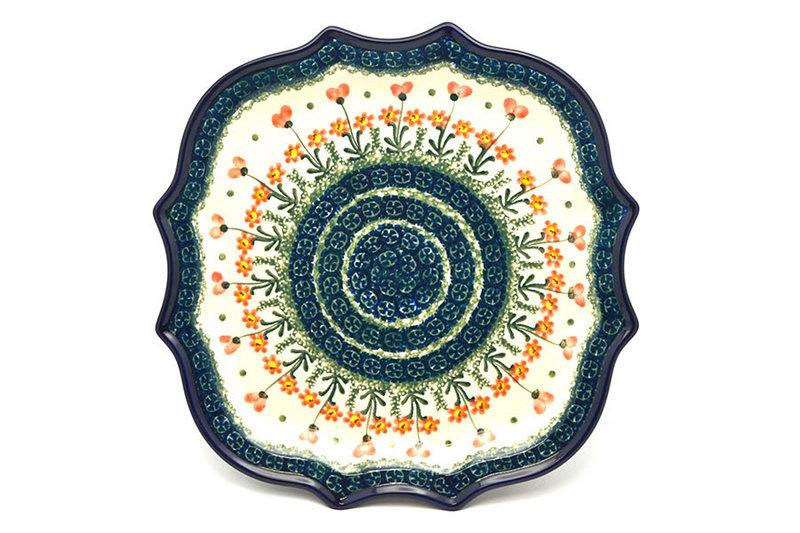 Ceramika Artystyczna Polish Pottery Tray - Serpentine Edge - Peach Spring Daisy 507-560a (Ceramika Artystyczna)