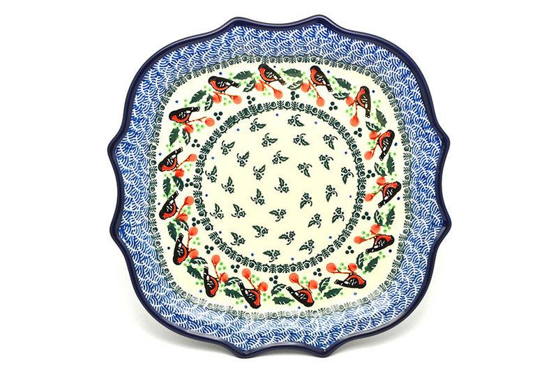 Ceramika Artystyczna Polish Pottery Tray - Serpentine Edge - Red Robin 507-1257a (Ceramika Artystyczna)