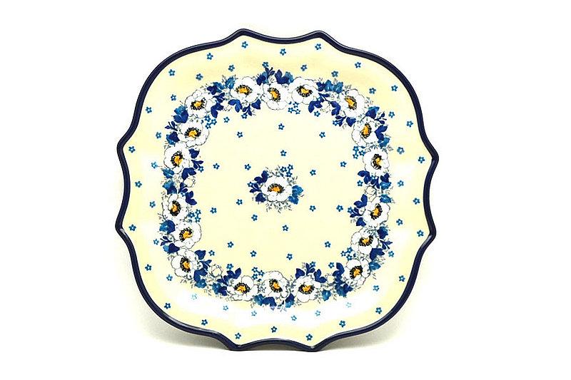 Ceramika Artystyczna Polish Pottery Tray - Serpentine Edge - White Poppy 507-2222a (Ceramika Artystyczna)