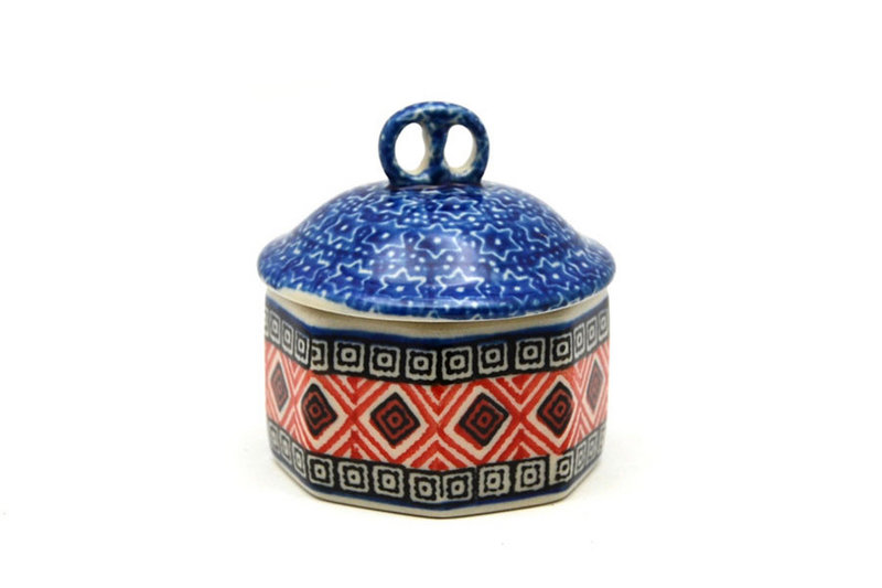 Ceramika Artystyczna Polish Pottery Trinket Box - Aztec Sun 110-1350a (Ceramika Artystyczna)