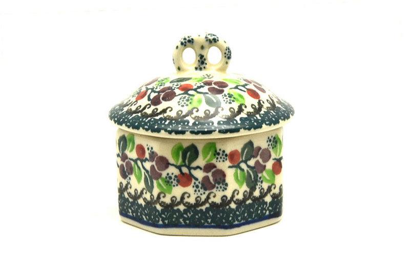 Ceramika Artystyczna Polish Pottery Trinket Box - Burgundy Berry Green 110-1415a (Ceramika Artystyczna)
