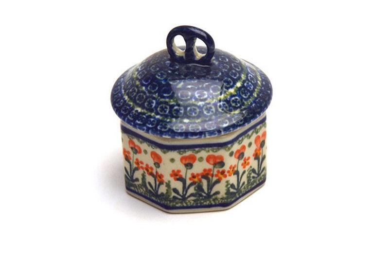 Ceramika Artystyczna Polish Pottery Trinket Box - Peach Spring Daisy 110-560a (Ceramika Artystyczna)